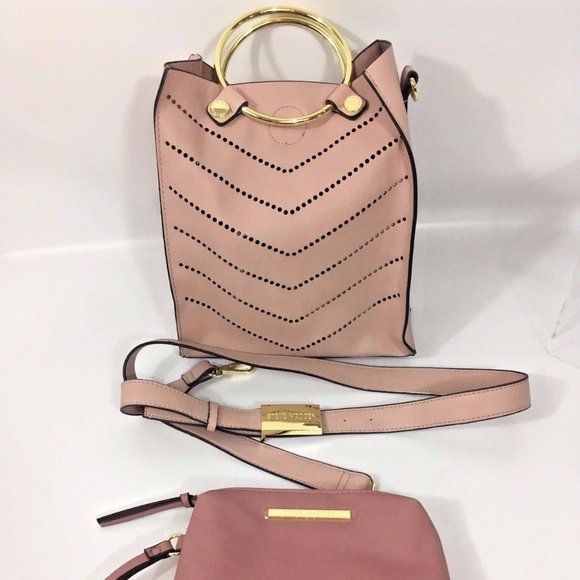 Steve Madden Handbags - Blush Pink Bucket Cross Body Purse + Makeup Bag